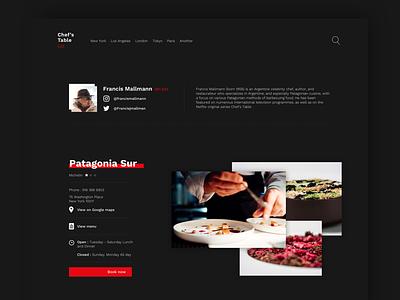 Chef's Table  website - Netflix restaurant tv button nav dark red food web netflix ux ui