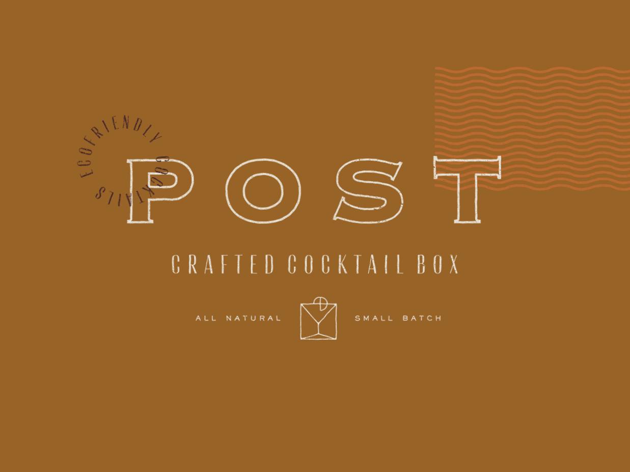 Post Craft Cocktails type icon design logo illustration branding typography