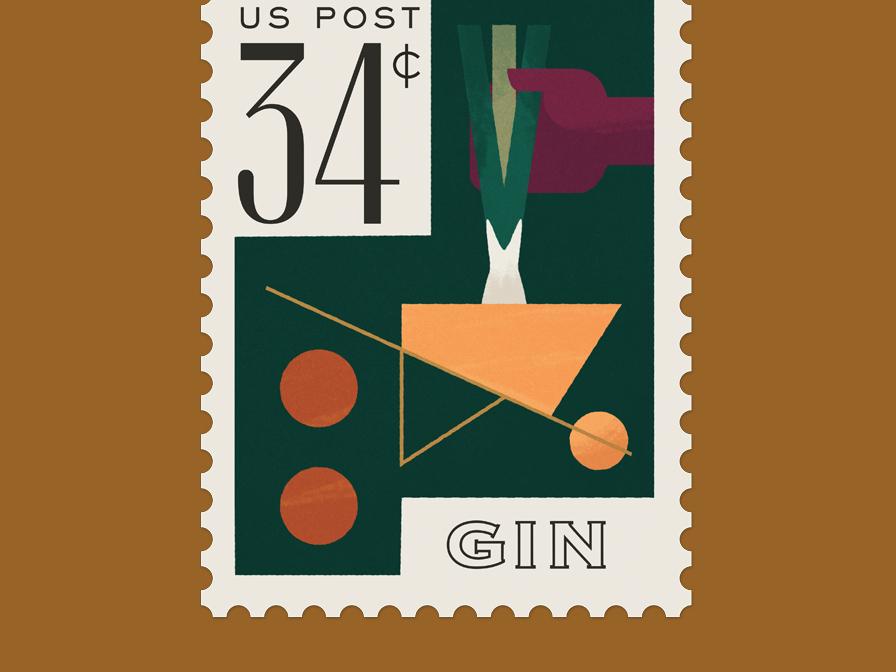 Gin Stamp farming wheelbarrow typography farm cocktail design illustration