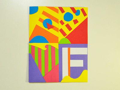 F elicidad typography colorful geometry lines handmade