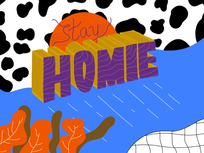 ¡Quédate! illustration typography patterns colorful