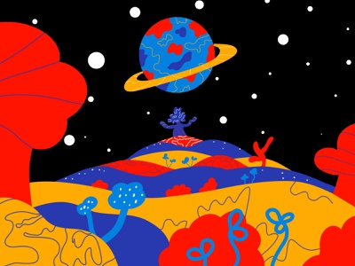 ¡Ésta es mi vista! universe planet lines flat  design space ilustration shapes