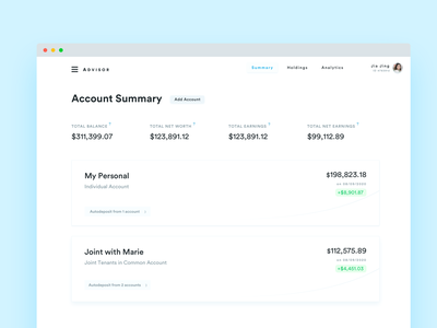 Account Summary for robo-advisor investment service sketch web design ui dashboard investment dashboard investment bank account investment advisor wealth management advisory advisor investing summary account