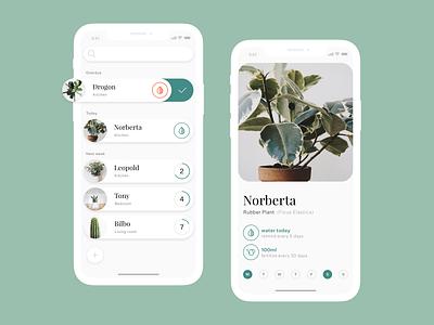 Plant Watering App clean simple ui mobile rounded sketchapp sketch plants flowers