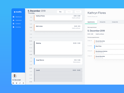 Medical CRM Dashboard crm dashboard appointments appointment booking calendar time line timeline scheduling schedule health care ux ui doctor medic medicine medical healthcare health