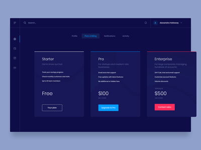 💰Financial Dashboard - Plan Selection dashboard ui enterprise profile subscription web app web ux user ui pricing plans money interface flat design dashboard clean application app
