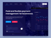 Financial Management Homepage cta financial testimonials navigation dark background dark landing page homepage application ui design app