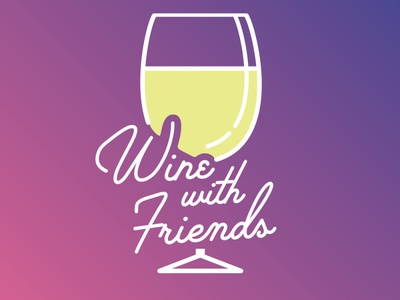Wine with Friend minimal vector logo design typography palm canyon drive wine