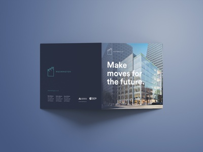 555 Washington (Make moves for the future.) line art cover art cover design typography print logo brochure mockup layout identity grids graphic design branding