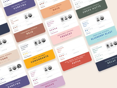 More flavors, more colors! grids layout packaging design coffee bag labels coffee