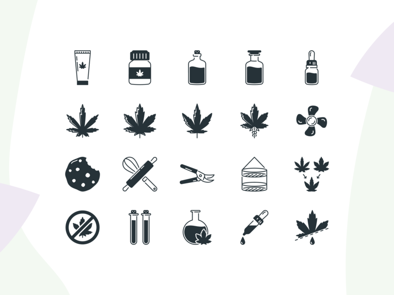 Cannabis Iconpack –Preview One black vape smoke maryjane plants 420 herb ganja cbd thc hemp icon design iconography icons icon marijuana leaf pot weed cannabis