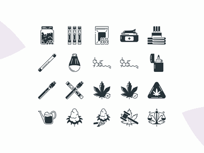 Cannabis Iconpack - Preview Two icon design pot plants hemp ganja marijuana cbd vape smoke maryjane 420 cannabis thc weed iconography icons icon