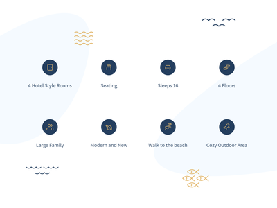 Cycad by the Sea Icon Set birds waves fish outdoors airbnb rent details ocean beach sea iconography icons pack iconset icons icon