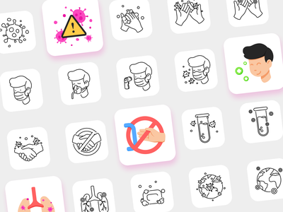 Free icon pack: COVID-19 ueno flat icon branding focuslab download icons pack vector illustrator free freebie icons iconset pandemic covid19
