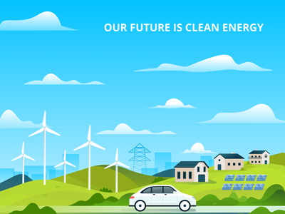 Our Future Is Clean Energy car future solar panel solar wind windmill electrical electriccar electric modern cleanenergy energy sketch drawing vector illustration design