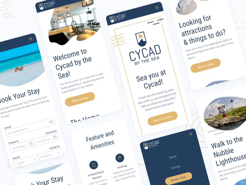 Cycad by the Sea Mobile Views airbnb booking menu waves ocean sea ui design typography web branding icon design logo illustration ux uiux ui mobileui mobile design mobile