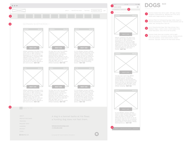 Protection Dog Wireframes labelled grey red ui ux wireframe wireframes canine protection international
