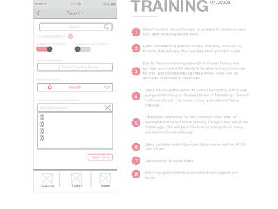 United Nations Training App - Training love illustrator sketch work design ui ux wireframes wireframe