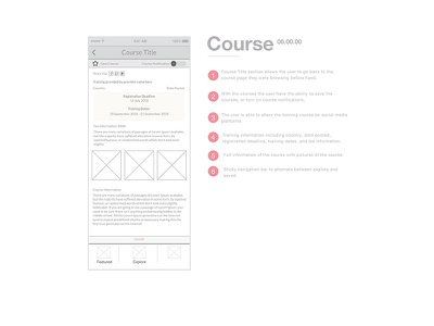 United Nations Training App - Course love illustrator sketch work design ui ux wireframes wireframe