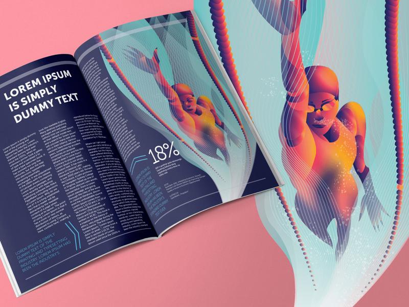 Fluid Dynamics gradient flat art illustration vector art character art digital art adobe illustrator graphic design editorial illustration