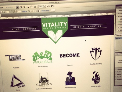 Vitality Studios Web Design web design adobe muse simplistic minimalism progress logo clients sample design teaser green black xeroavila christopher avila vitality studios vitality web
