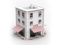 Low Poly Cafe Illurstration