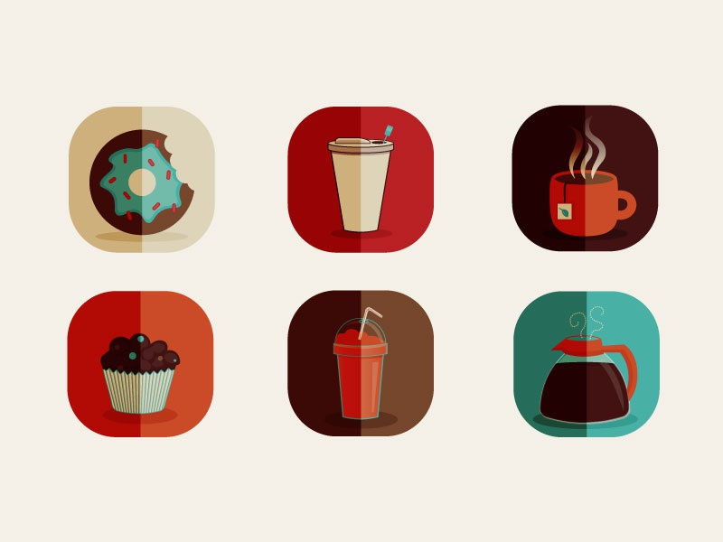 Coffee Shop Icons icon app design illustration tea shop coffee debut vector icons