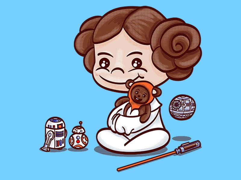 Little Leia and Her Toys lightsaber jedi skywalker bb8 r2d2 ewok chewbacca character illustration vector star wars princess leia