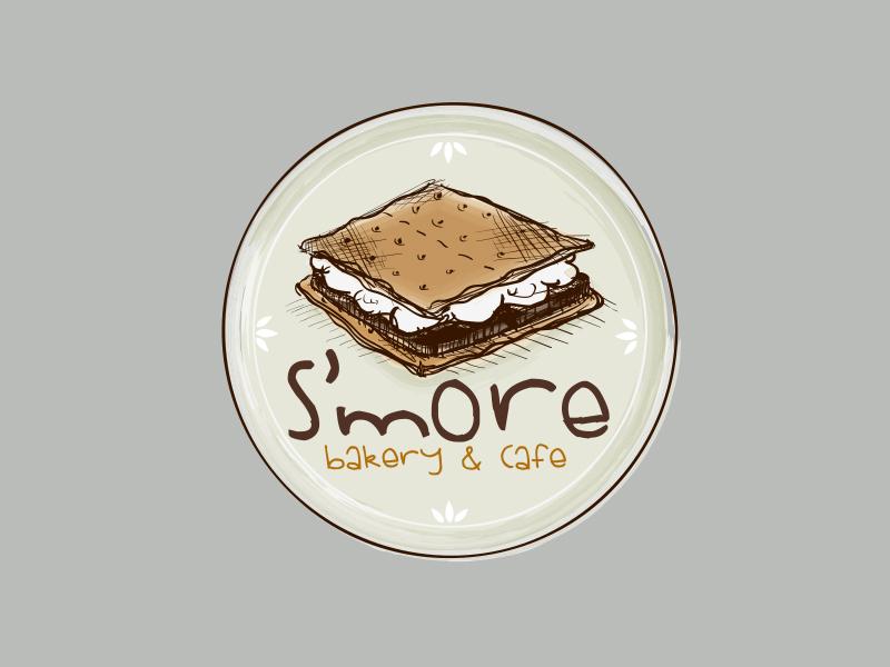 Logo for S'more bakery and cafe baker restaurant branding illustration cafe design logo