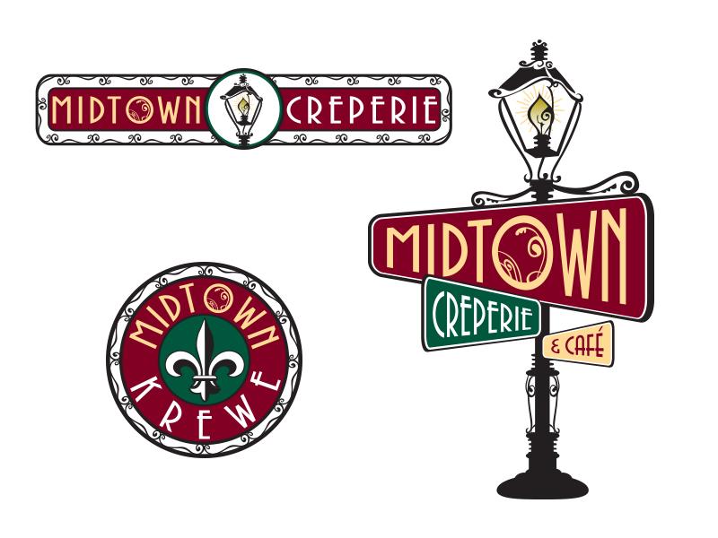 Midtown Creperie & Cafe' Logo baker restaurant branding illustration cafe design logo