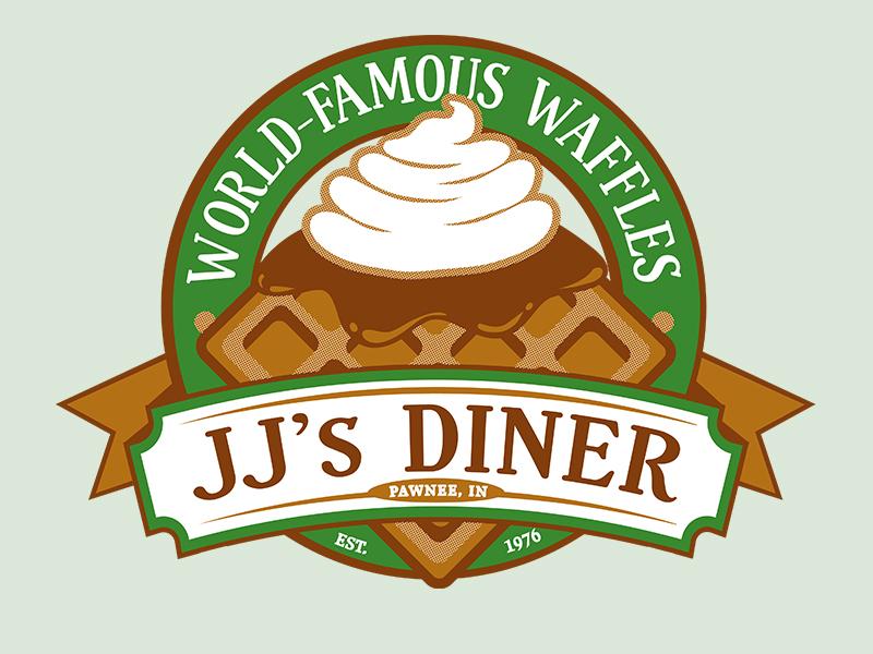 JJ's Diner Parody Design leslie knope parks and rec pawnee illustration cafe design logo
