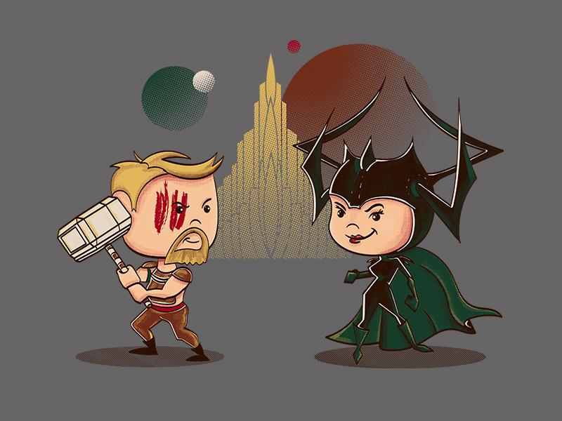Battle Ragnarok; a fan art piece design vector character illustration ragnarok marvel asgard hela thor