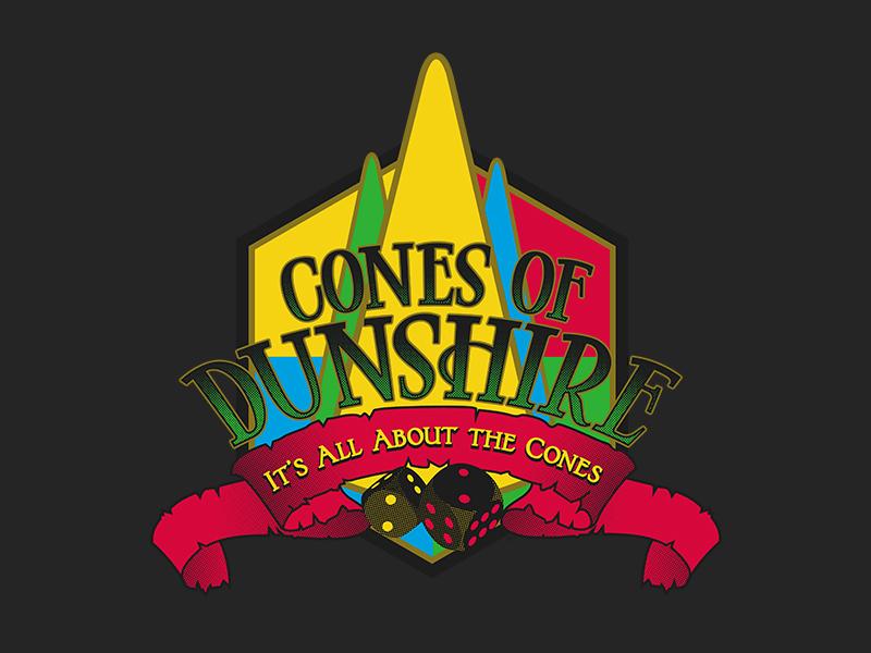 Cones of Dunshire Logo Parody Design leslie knope parks and rec pawnee illustration game design logo