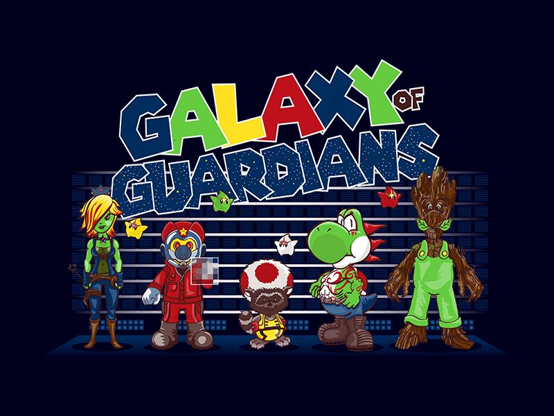 Galaxy of Guardians: Mashup Design Nintendo fanart luigi guardians of the galaxy nintendo mario illustration design parody