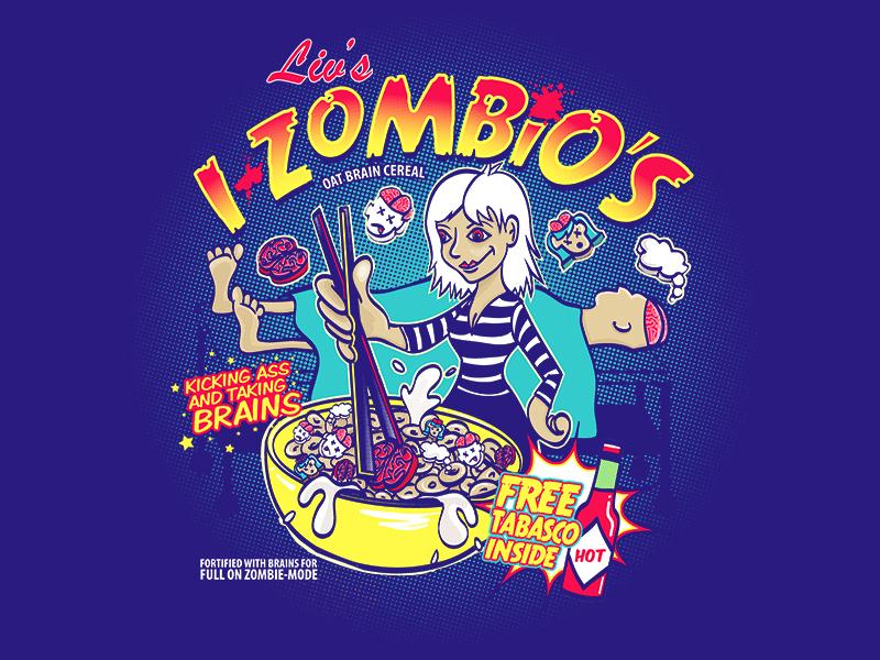 Liv's i-Zombios fan art typography izombie parody illustration design box cereal