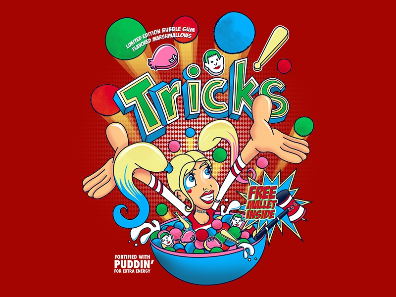 Silly Harley, Tricks are for Kids fan art typography quinn harley parody illustration design box cereal