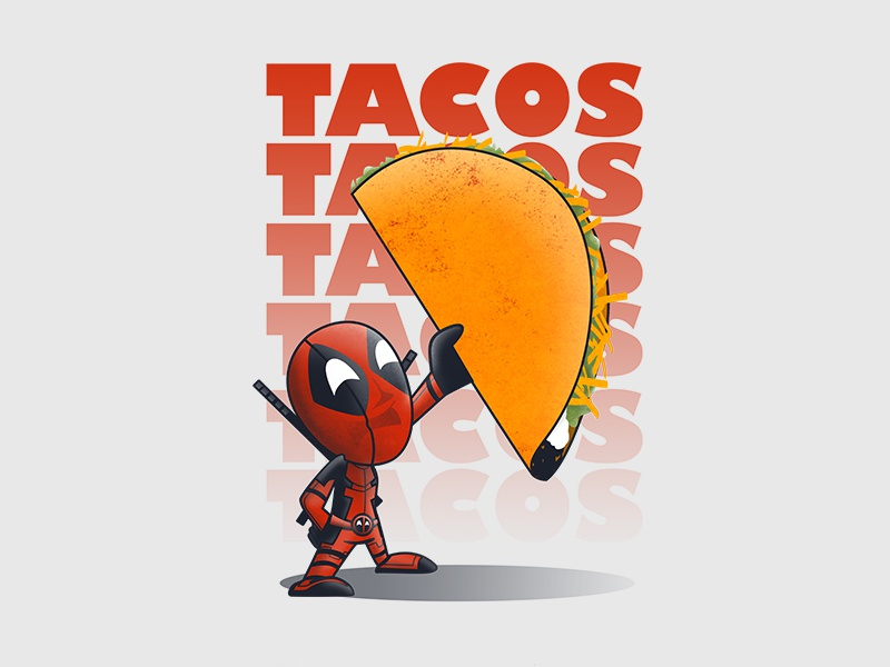 Tacos! food taco deadpool vector illustration character design chibi
