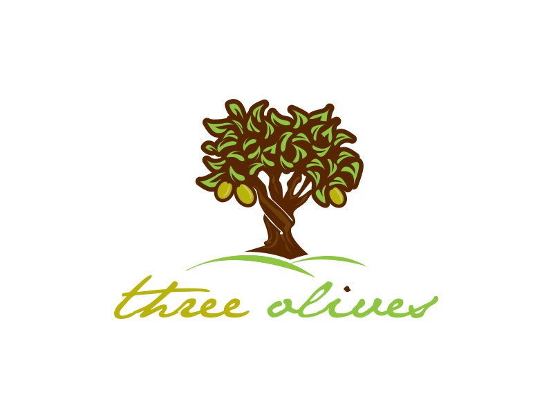 Three Olives label bottle wine restaurant branding illustration cafe design logo