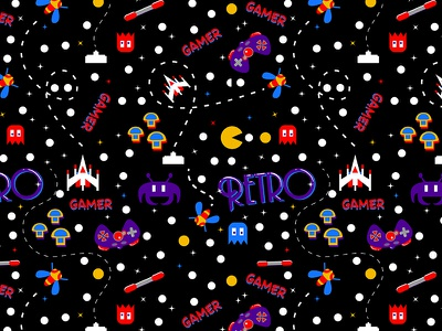 Retro Gamer Pattern galaga nintendo classic pacman illustration flat design vector game seamless pattern pattern