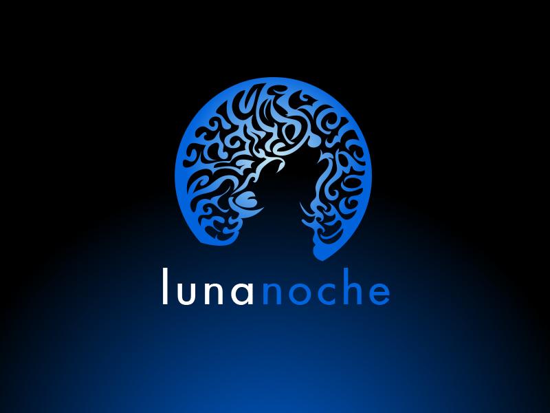 Lunanoche Logo Design pattern vector moon wolf branding illustration design logo