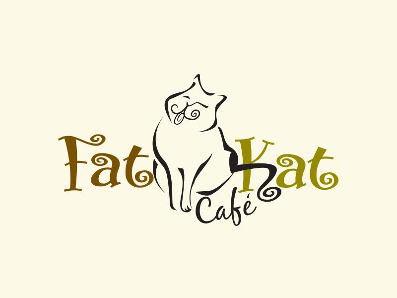 Fat Kat cafe' Logo Design baker restaurant branding illustration cafe design logo