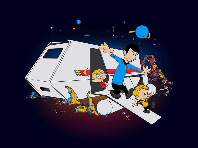 To Boldy Go Beyond spock kirk star trek illustration design shirt parody hobbes calvin