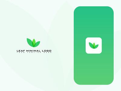 LEAF MINIMAL LOGO symbol health icon modern clean simple logos green logo design logotype brand logo minimal branding design idenity plant nature leaf brand identity