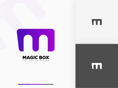 MAGIC BOX MODERN BRANDING LOGO flat tech brand identity minimalist minimal graphic design modern monogram app icon symbol mark logotype identity logo brand design branding typography illustration