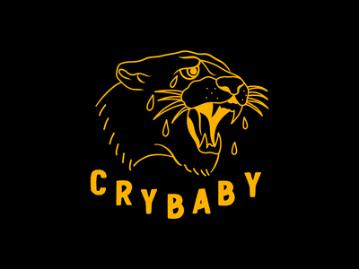 Cry Baby tattoo panther lettering quote minimal drawing clean design illustration vector