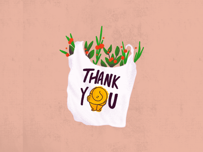 Thank You! shading flowers plastic bag nature plants character drawing design illustration