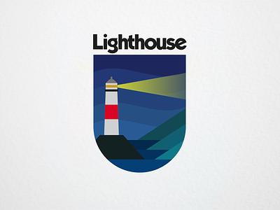 Lighthouse Badge Design - Night mark outdoor logo outdoors outdoor patch patches icon adventure logo design illustration graphic design branding badge logo