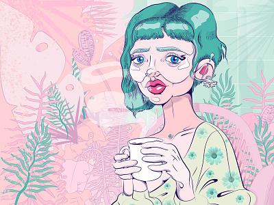 Greenhouse teatime pastel line art art flowers girl drawing illustrator digital art illustration