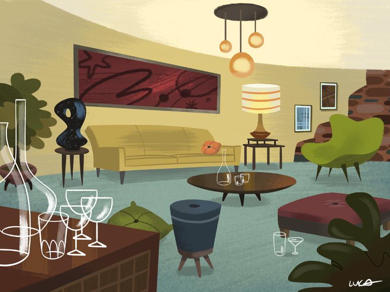 Party room animation design animation illustration art book design artist background art tree art moddern century mid design background illustration