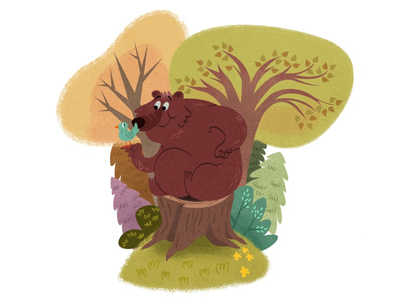 Forest bear spring flower grass shrub bush tree bird design character illustration forest bear